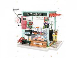 """Robotime Интерьерный конструктор """"Миниатюрный дом Diy: Магазинчик мороженого"""""""
