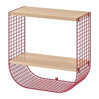 Полка с отделением для хранения,СВЕНСХУЛЬТ, коричнево-красный, под беленый дуб ИКЕА, IKEA , фото 1