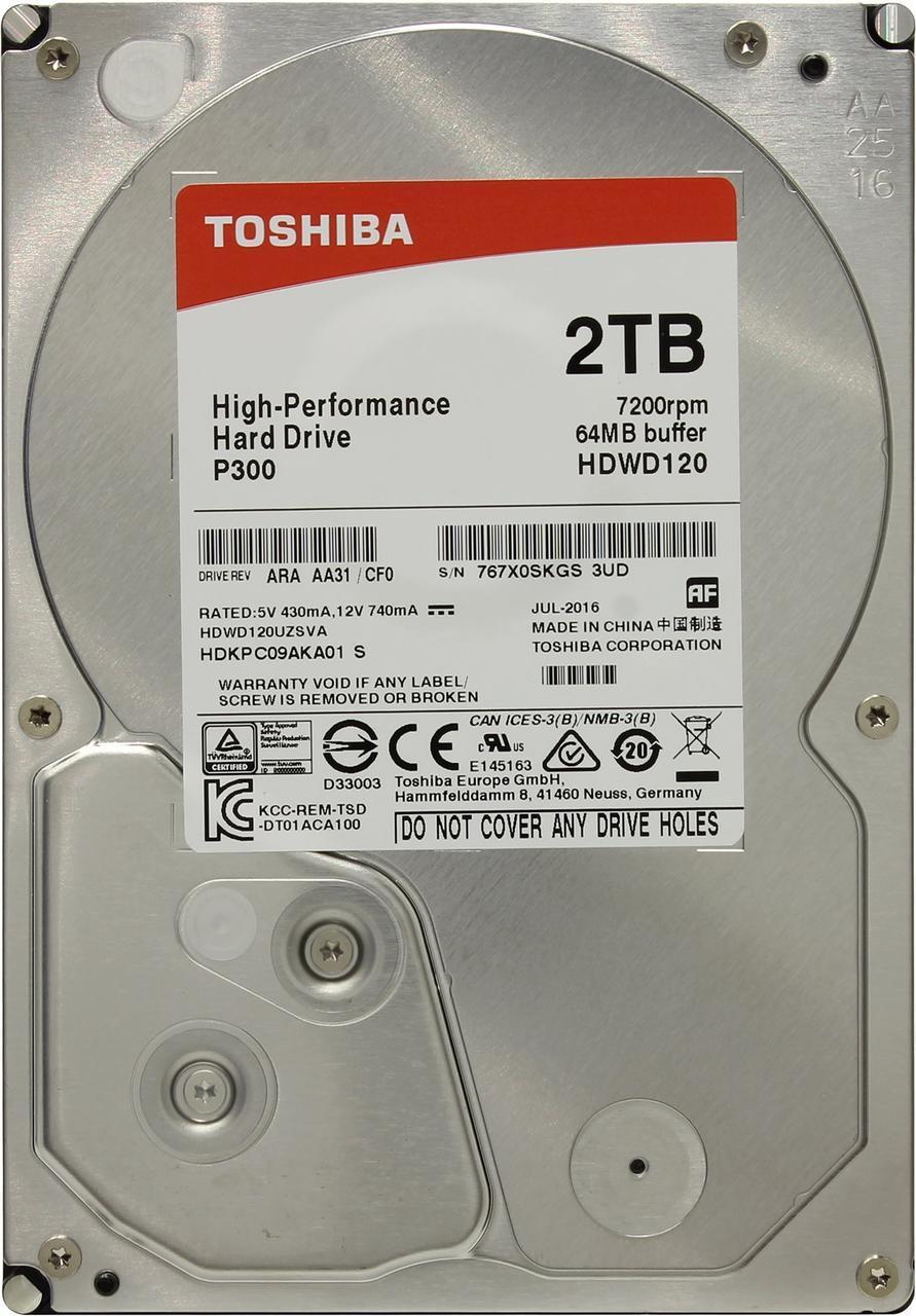 """HDD 2TB Toshiba P300 SATA6Gb/s 7200rpm 64Mb 3,5"""" HDWD120UZSVA"""