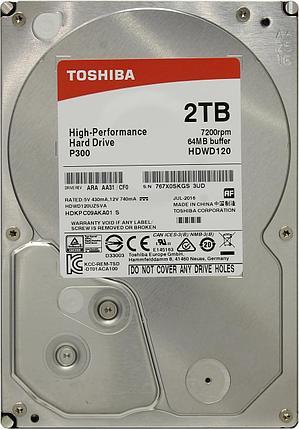 """HDD 2TB Toshiba P300 SATA6Gb/s 7200rpm 64Mb 3,5"""" HDWD120UZSVA, фото 2"""