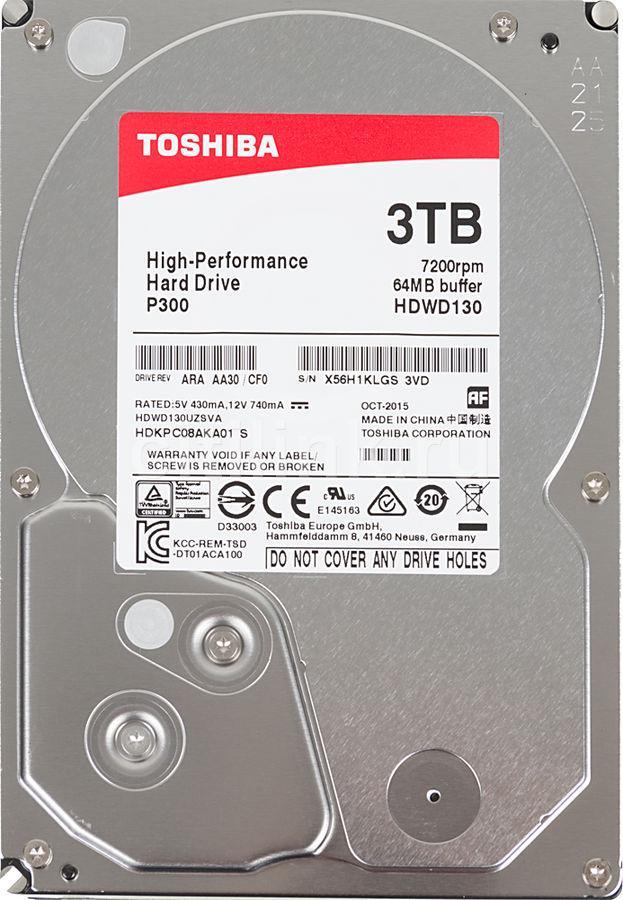 """HDD 3TB Toshiba P300 SATA6Gb/s 7200rpm 64Mb 3,5"""" HDWD120UZSVA"""