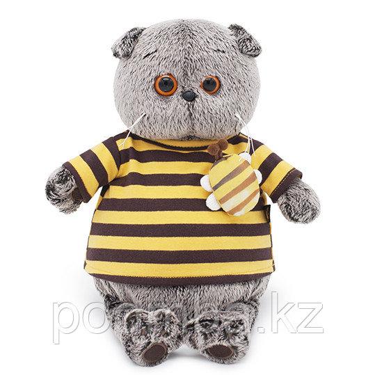 Игрушка Басик в полосатой футболке с пчелой  22см