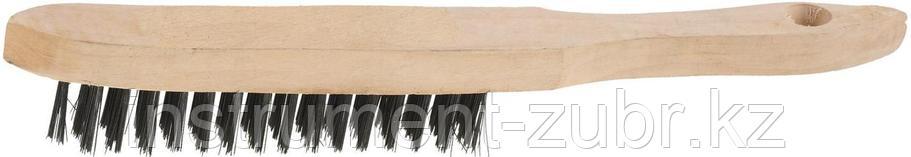 """Щетка STAYER """"MASTER"""" проволочная стальная с деревянной ручкой, 4 ряда, фото 2"""