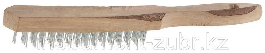 Щетка ТЕВТОН стальная с деревянной рукояткой, 4 ряда, фото 2