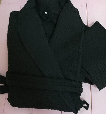 Халат вафельный чёрный , фото 2
