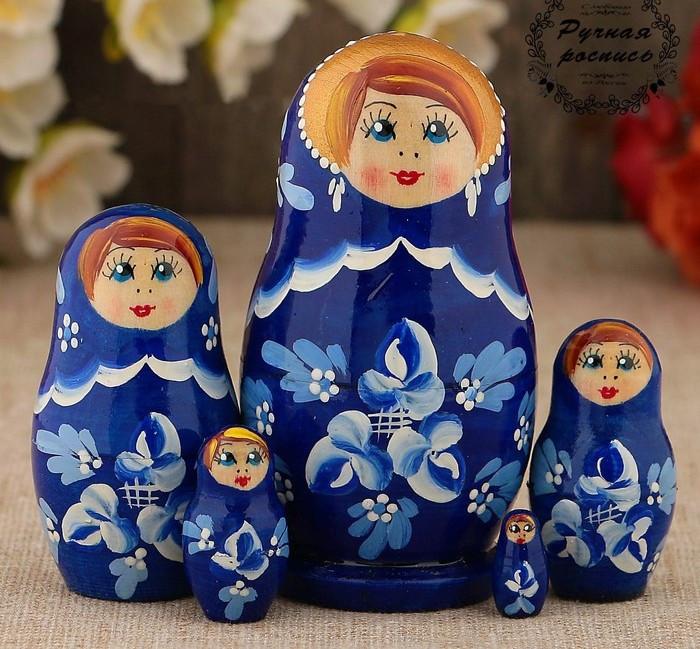 Матрёшка «Гжель», синее платье, 5 кукольная, 10 см