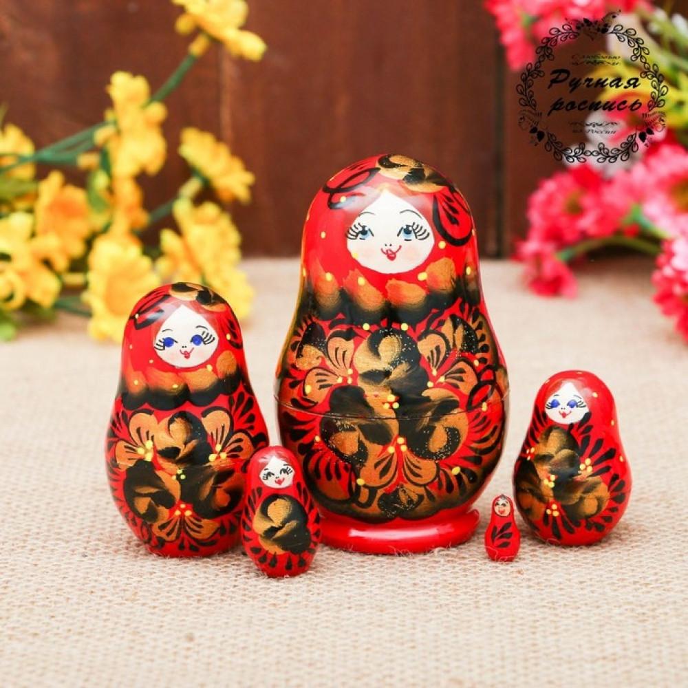 Матрёшка «Хохлома», красное платье, 5 кукольная, 10 см