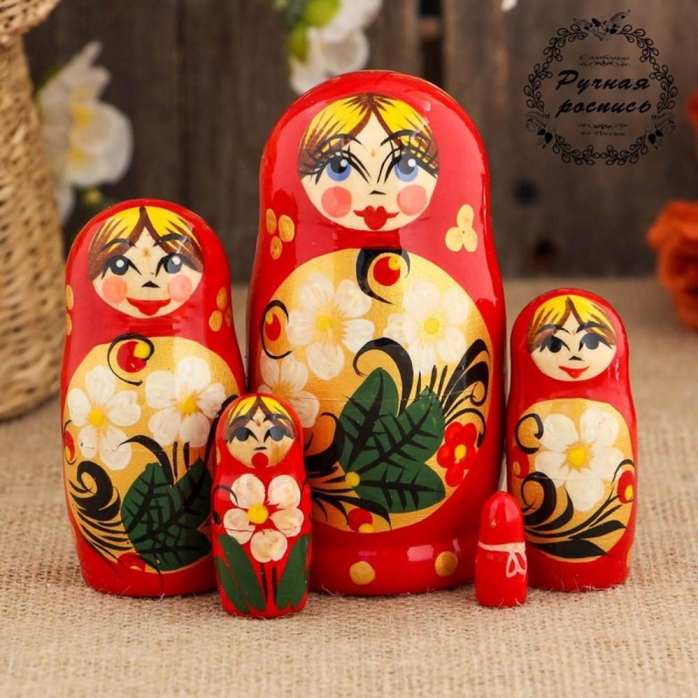 Матрёшка «Цветы на золоте», красный платок, 5 кукольная, 10 см