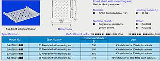"""Полка перфорированная универсальная Toten SA.0280.1900, для шкафа глубиной 800, 19"""", L=550mm, grey"""