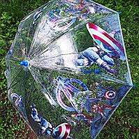 """Детский прозрачный зонт-трость """"Мстители"""""""