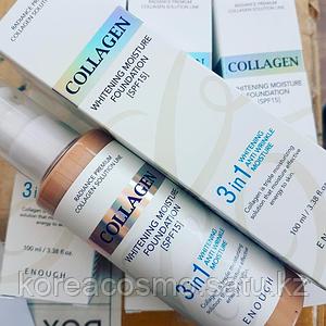 Тональный крем Enough 3 in 1 Collagen Whitening Anti Wrincle Moisture Foundation 100мл