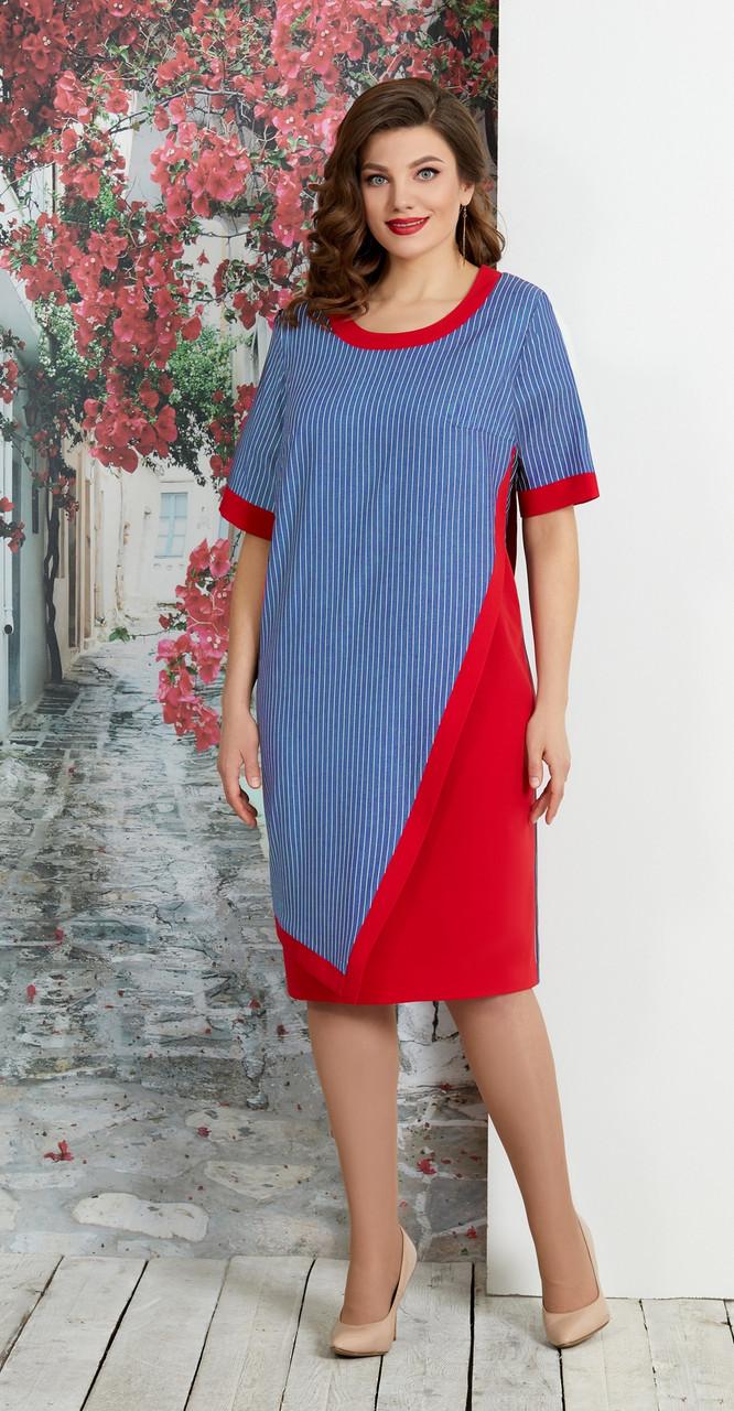 Платье AGATTI-3172, синий+красный, 52