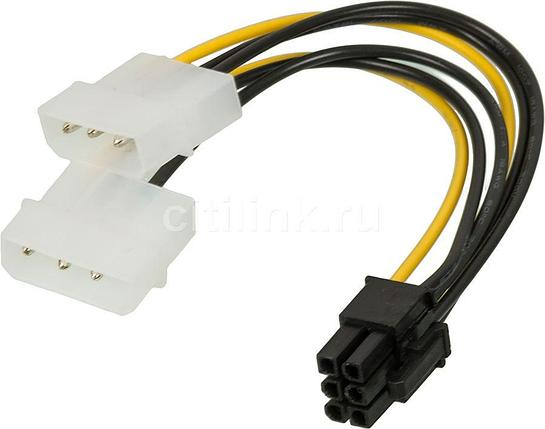 Переходник Molex4-6pin Molex 4 pin (old power) x 2 шт. на 6 pin Video Card Power (0.20 м), фото 2
