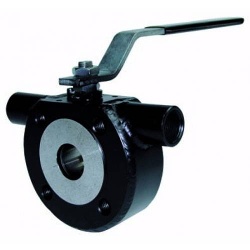 Кран шаровой полнопроходной GENEBRE 2115 - Ду65 (ф/ф, PN16, Tmax 180°С, ручка-рычаг, цвет черный)