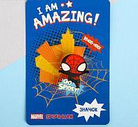 """Значок на подложке """"Marvel"""", Человек-паук"""