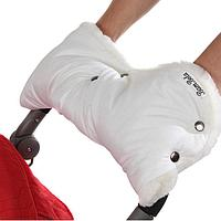 BAMBOLA Муфта для коляски шерстяной мех+плащевка+кнопки(лайт)  Белая