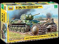 Советский средний танк с минным тралом Т-34/76, сборная модель 1\35