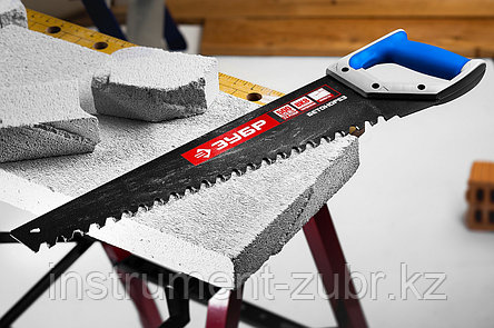 Ножовка по пенобетону (пила) БЕТОНОРЕЗ 500 мм, шаг 20 мм, 23 твердосплавных резца,ЗУБР, фото 2