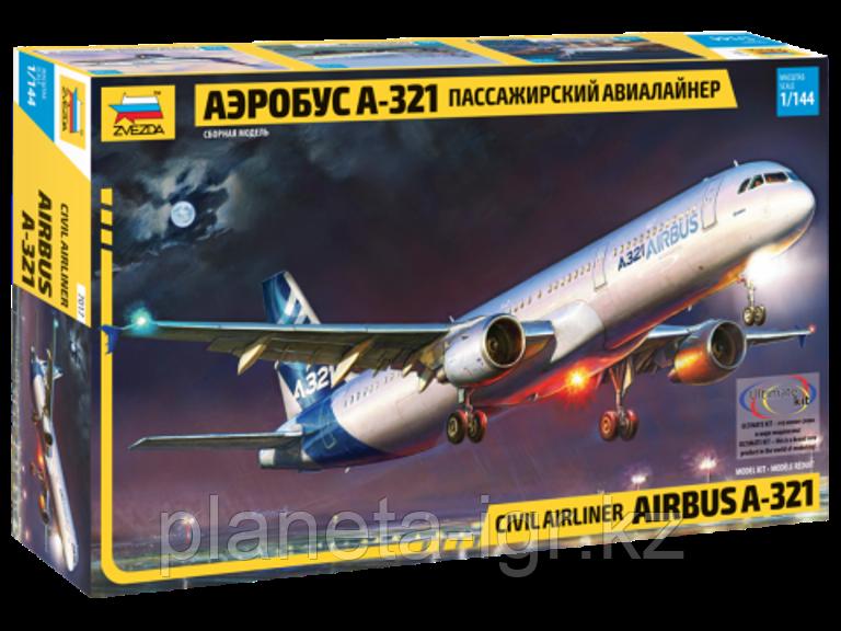 Пассажирский авиалайнер Аэробус А-321, сборная модель, 1\144