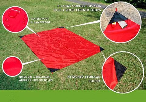 Коврик карманный для пикника или пляжа Beach Mat в чехле (2 местный / Красный), фото 2