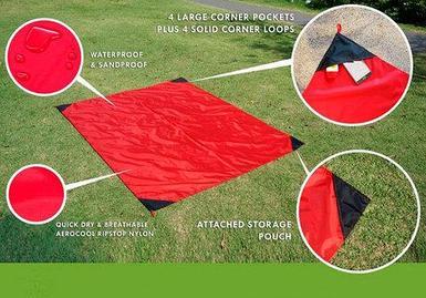 Коврик карманный для пикника или пляжа Beach Mat в чехле (2 местный / Красный)