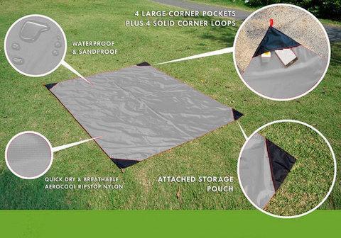 Коврик карманный для пикника или пляжа Beach Mat в чехле (2 местный / Серый)