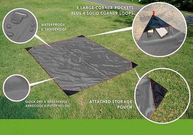 Коврик карманный для пикника или пляжа Beach Mat в чехле (2 местный / Темно-серый)