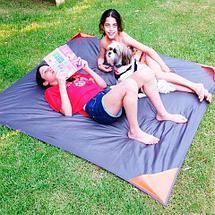 Коврик карманный для пикника или пляжа Beach Mat в чехле (2 местный / Темно-серый), фото 3