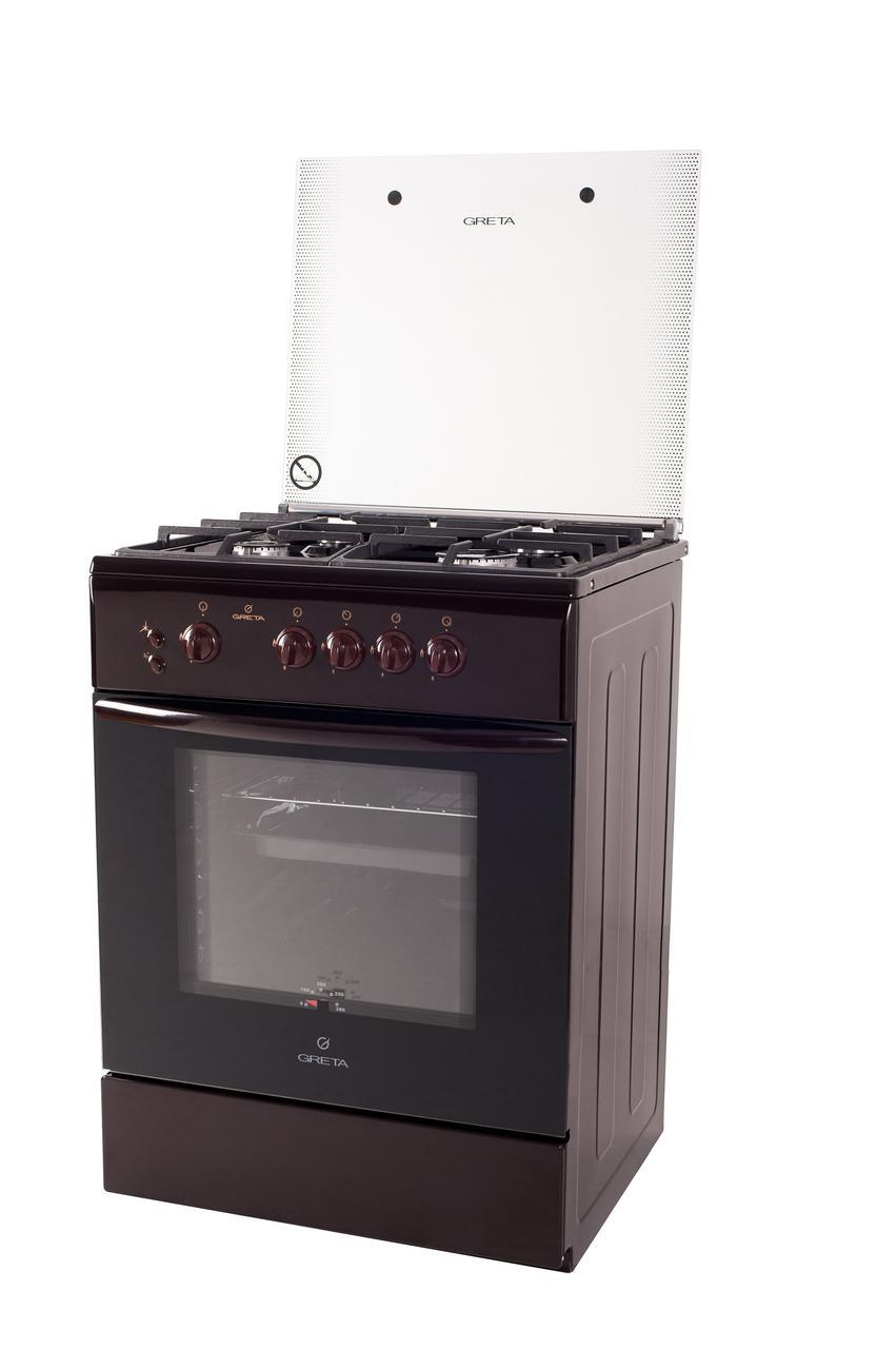 """Плита газовая """"Greta"""" модель 600- 07 (чуг.решетка) коричневая  с турбогорелкой"""