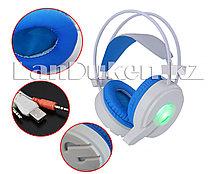 Игровая головная гарнитура наушники с микрофоном с LED подсветкой USB H6 белые