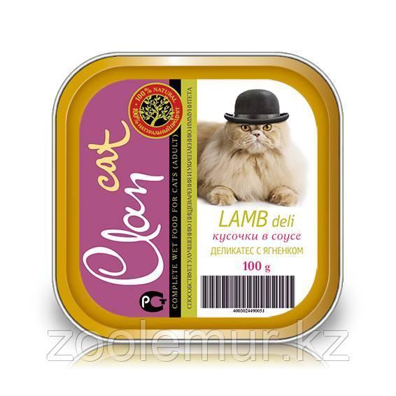 CLAN консервы для кошек Кусочки в соусе Деликатес с ягненком 100г