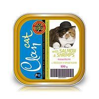 CLAN консервы для кошек Паштет с лососем и креветками 100г