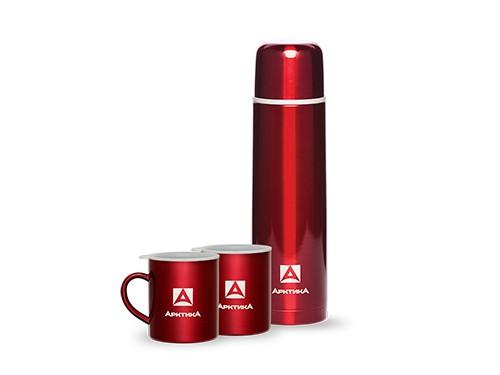 Набор АRСTIСA: термос вакуумный (1,0л) (26ч)(металл)+ две кружки невакумные (0,3л)-красный