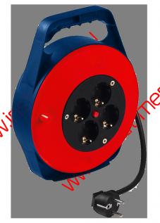Удлинитель силовой на кабельной катушке в закрытом корпусе, 3*1мм*10м, 4 розетки, 10A, STERN